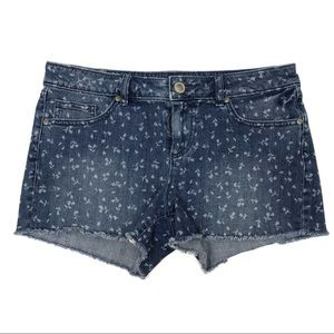 LC Lauren Conrad Small Flower Print Denim Shorts